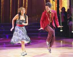 "Dorothy & Tristan - The competition heats up on ""Dancing with the Stars"" as the celebrities take on new dance routines and fight for survival. The couples performed a Jive, Quickstep or Jazz routine. (Photo: ABC/Adam Taylor)"