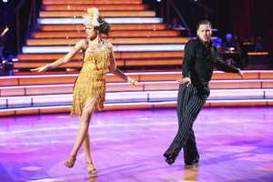 "Zendaya & Val - The competition heats up on ""Dancing with the Stars"" as the celebrities take on new dance routines and fight for survival. The couples performed a Jive, Quickstep or Jazz routine. (Photo: ABC/Adam Taylor)"