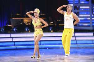 "Sean & Peta - The competition heats up on ""Dancing with the Stars"" as the celebrities take on new dance routines and fight for survival. The couples performed a Jive, Quickstep or Jazz routine. (Photo: ABC/Adam Taylor)"