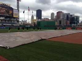 ...and the grounds crew removed the tarp from the field.