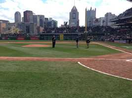 Retiring PNC chairman and CEO Jim Rohr gets ready to throw out the first pitch