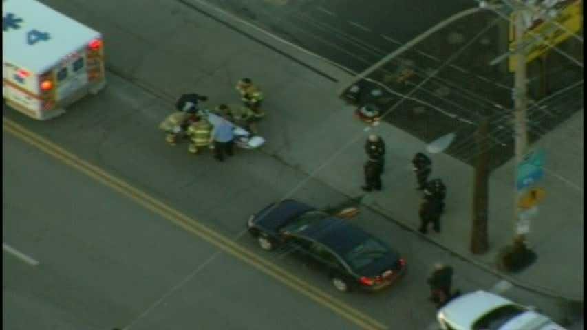 Car hits pedestrian