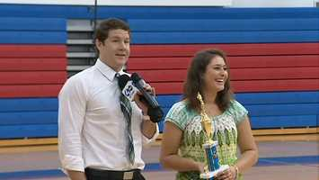 Action Sports' Justin Rose and Clearview Federal Credit Union Student-Athlete of the Week Mallory Stack