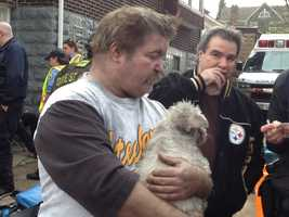 Dan Lane and Bob Lane lost their mother, Shirley Lane, in the house fire. The man on the left lived with her.