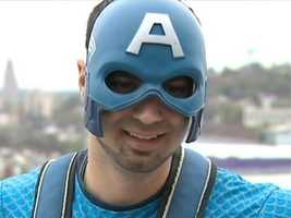 """We just came down here to put a couple smiles on a kid's face, and it turns out it was a lot bigger than what we planned on,"" said Captain America, a.k.a. Marc Errico."
