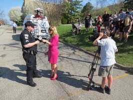 The following photos were shared by the Keystone Oaks School District. Here's WTAE reporter Amber Nicotra interviewing a police officer.
