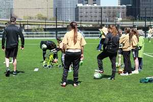 """The Pittsburgh Riverhounds soccer team held a """"Special Kick Clinic"""" at Highmark Stadium on Sunday."""
