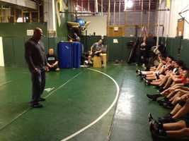 Kurt Angle visits the wrestling team at Pine-Richland High School in Pine Township.