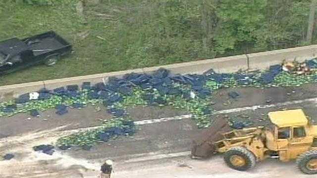 Soda bottles spilled on I-70