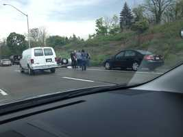 A car accident on the Parkway East near Monroeville.