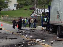 A tractor-trailer and an SUV collided on Henderson Avenue, near Petronka Lane, about 10:30 a.m.