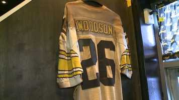 This singed Rod Woodson jersey was one of a few pieces of memorabilia that survived the fire.