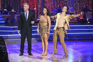 Aly & Mark - In the final two-hour performance show, the remaining couples competed in three rounds of dance. In the first round, each couple took on a new routine in a dance style that the judges wanted to see again. In round two, the couples were challenged to a Cha Cha relay, where each pair danced to a different section of the same song. In the last round -- and one of the biggest competitive dances of the season -- the couples took on a supersized freestyle featuring special effects, additional dancers and unexpected surprises. (ABC/Adam Taylor)