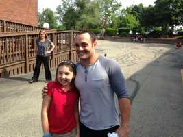 "Bailey Golvash, 10, was the winner of the ""Take the Fort to School"" promotion that brought McKenry to her school."