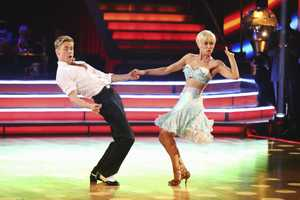 "KELLIE & DEREK - In a final element of the competition, the three remaining couples performed a new routine in an ""Instant Dance"" - where they tackled a style they knew, but to music given to them for the first time live on television. This routine was scored out of 30 and rounded out the judges' scores across both nights, on the two-hour Season Finale of ""Dancing with the Stars the Results Show,"" (ABC/Adam Taylor)"
