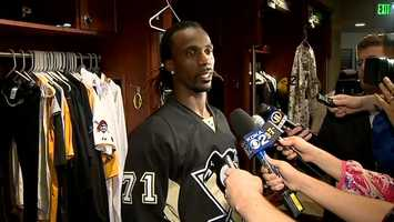 Pirates All-Star Andrew McCutchen shows his support for Penguins center Evgeni Malkin