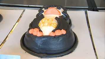 Penguin-shaped cake