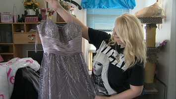 Tanya Kach shows her prom dress to WTAE.
