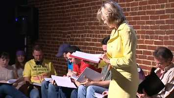 """Channel 4 Action News anchor Sally Wiggin starred as TV news reporter April O'Neil in a reading of """"Teenage Mutant Ninja Turtles"""" at the Arcade Comedy Theater in the Cultural District."""