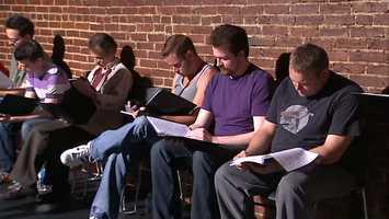 James Fitzgerald as Splinter (third from left), Curt Wootton as Casey Jones, John Feightner as Shredder and comedian Aaron Kleiber as Tatsu.