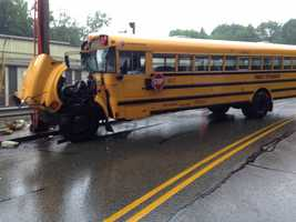 The bus was on its way to South Hills 6-8 School with 47 students on board. Three of them were admitted to Children's Hospital of Pittsburgh of UPMC with what appeared to be minor injuries. Three others were treated and released.