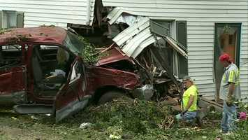 """""""I ran outside to look, and I saw my porch was gone, my truck was gone,"""" said Pearson, whose wife and grandson were also home at the time."""