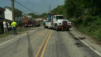 Power to the neighborhood was knocked out when the utility pole was hit, but has since been restored.
