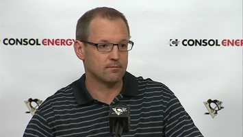 "Dan Bylsma: ""It's definitely that shock and disbelief and a little bit surreal that we got eliminated, we got beat in four straight and didn't win a game against the Bruins."""