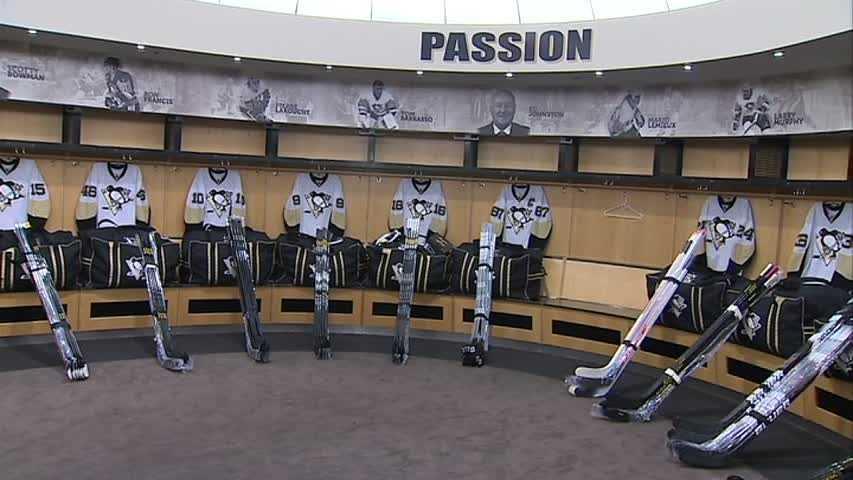 Penguins locker room (no caption)