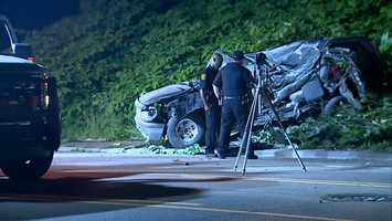 One person died and one was injured when their Jeep crashed into the hillside along West Liberty Avenue in Beechview.