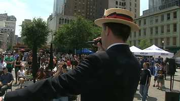 One of the qualifying rounds for the 98th annual Nathan's Famous Fourth of July International Hot Dog Eating Contest was held at Market Square in Pittsburgh.