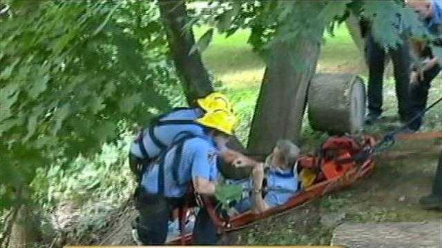 Elderly man, employee fall down hillside near care home