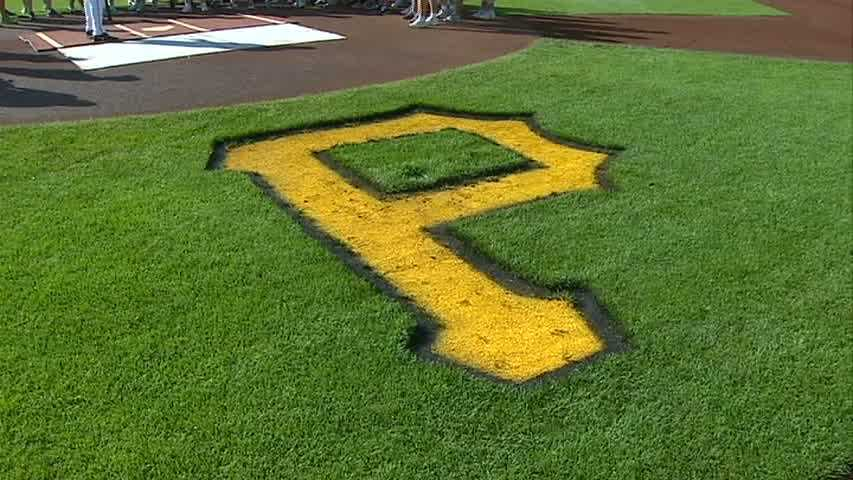 Pirates logo on field