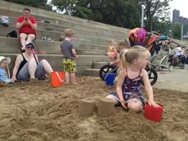 "The ""Beach 'Burgh"" at the Regatta is a 200-foot area of sand, palm trees and kids toys next to the Allegheny River steps at Point State Park."