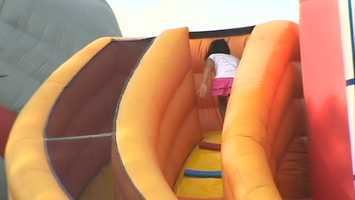 Inflatable slides for the kids.