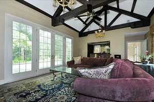 Alternate view of the beautiful ceiling in this family room.