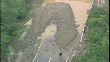 Banksville Road was impassable near the Parkway West because of flooding.