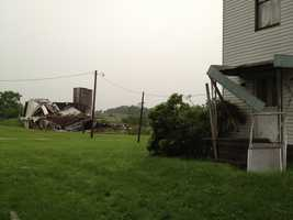 Possible tornado damage on Route 168 near Halltown Road in New Beaver, Lawrence County.