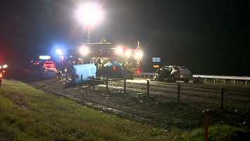 The wreck happened in the southbound lanes of I-279, near the Mt. Nebo exit.