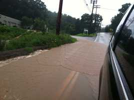 Flooding at the intersection of New Texas Road and Route 286 in Plum.