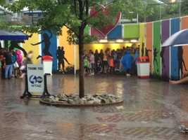 Kennywood Park visitors took cover in the tunnel during heavy rainfall at WTAE's Summerfest.