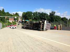 An overturned tractor-trailer blocked traffic in Duquesne on Wednesday morning.