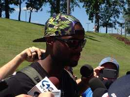 The award for best hat so far easily goes to Plaxico Burress.