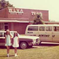 """Here is Michelle in front of the TV station with her best friend, Joannie, before the interview. (Notice the """"newsmobile"""" van near her.) She never imagined she would be working at that station in about 10 years."""