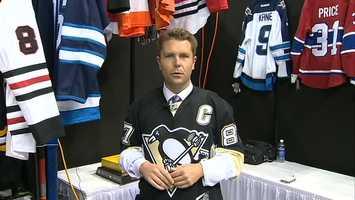 Channel 4 Action Sports' Ryan Recker models a Sidney Crosby jersey ...