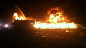 The Beach Club at Conneaut Lake Park was heavily damaged by fire.