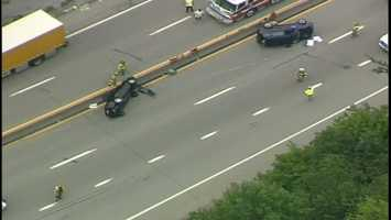 Both eastbound lanes were still closed at 2:30 p.m. while fire trucks and ambulances remained at the scene.