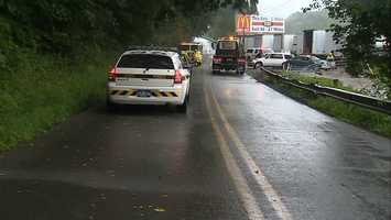 Two people were injured Friday morning in a two-vehicle crash in Westmoreland County.