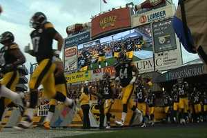 The Pittsburgh Steelers make this grand entrance onto the field prior to kick off in style!