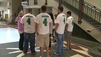 Friends and family went to court wearing Sheridan's college football jersey number as a show of support.